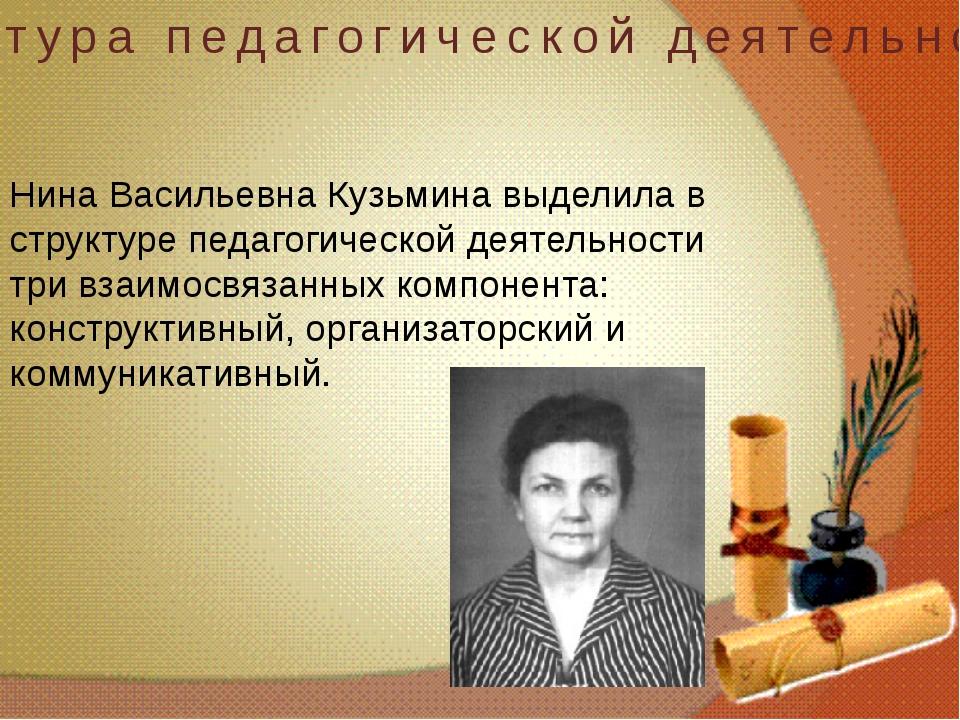 Структура педагогической деятельности Нина Васильевна Кузьмина выделила в ст...