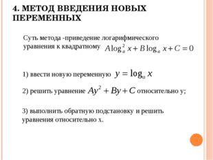4. МЕТОД ВВЕДЕНИЯ НОВЫХ ПЕРЕМЕННЫХ Суть метода -приведение логарифмического у