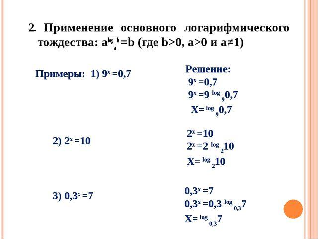 2. Применение основного логарифмического тождества: alog a b =b (где b>0, a>...