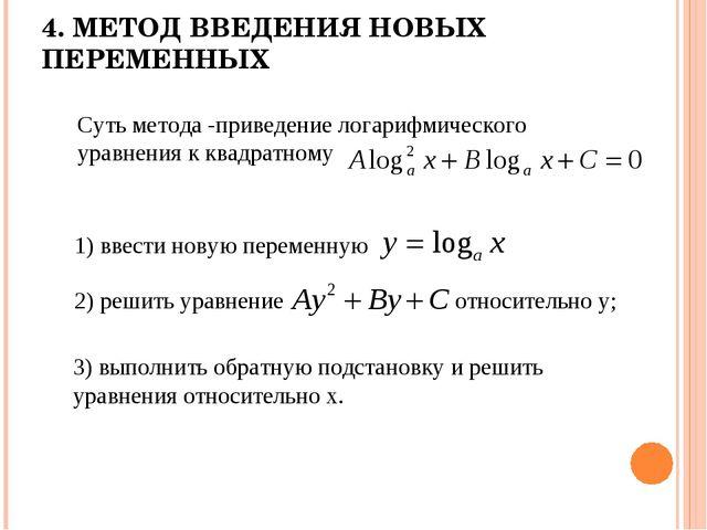 4. МЕТОД ВВЕДЕНИЯ НОВЫХ ПЕРЕМЕННЫХ Суть метода -приведение логарифмического у...