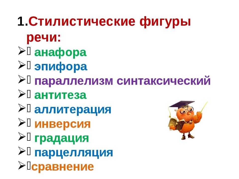 Стилистические фигуры речи: анафора эпифора параллелизм синтаксический антите...