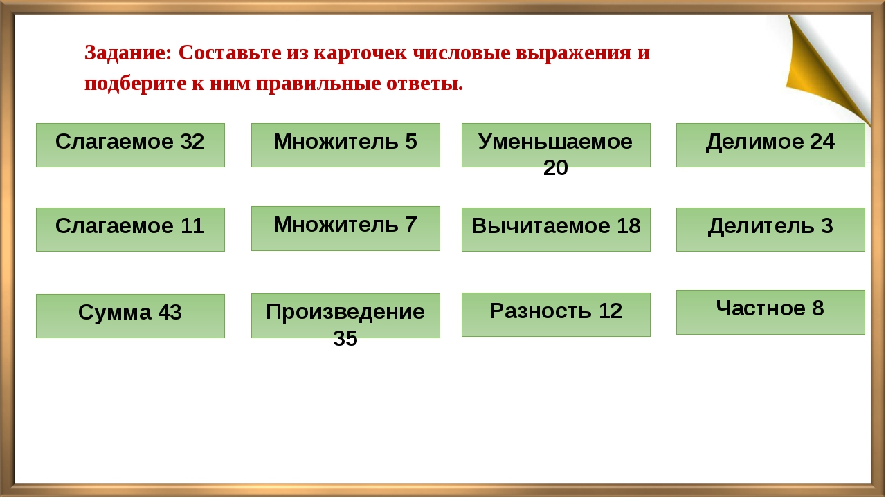 Задание: Составьте из карточек числовые выражения и подберите к ним правильны...