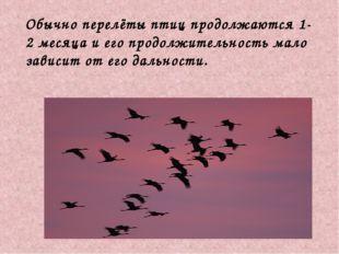 Обычно перелёты птиц продолжаются 1-2 месяца и его продолжительность мало за