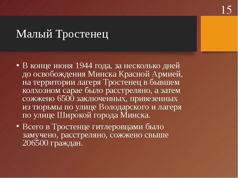 Малый Тростенец В конце июня 1944года, занесколько дней доосвобождения Мин...