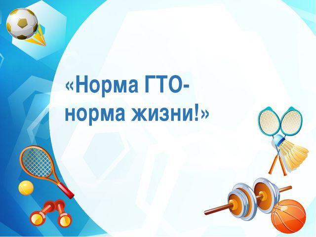 «Норма ГТО- норма жизни!»