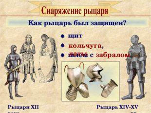 Как рыцарь был защищен? Рыцари XII века Рыцарь XIV-XV вв. щит шлем с забралом