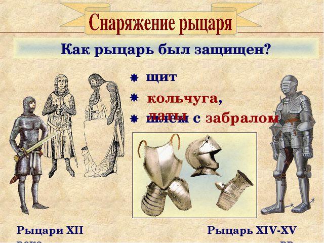 Как рыцарь был защищен? Рыцари XII века Рыцарь XIV-XV вв. щит шлем с забралом...