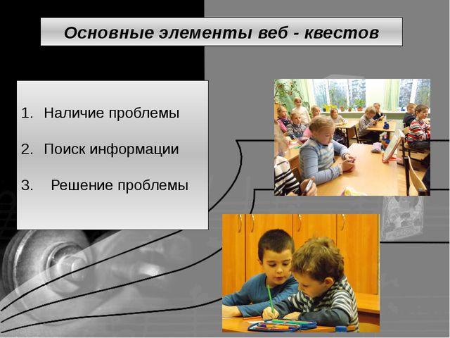 Наличие проблемы Поиск информации 3. Решение проблемы Основные элементы веб...