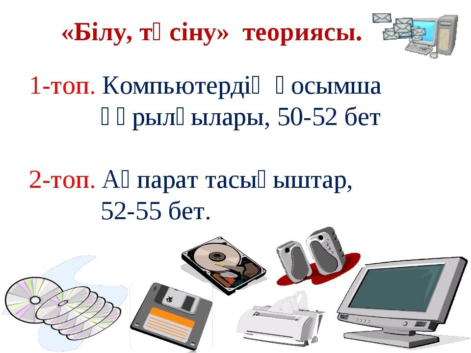 «Білу, түсіну» теориясы. 1-топ. Компьютердің қосымша құрылғылары, 50-52 бет 2...