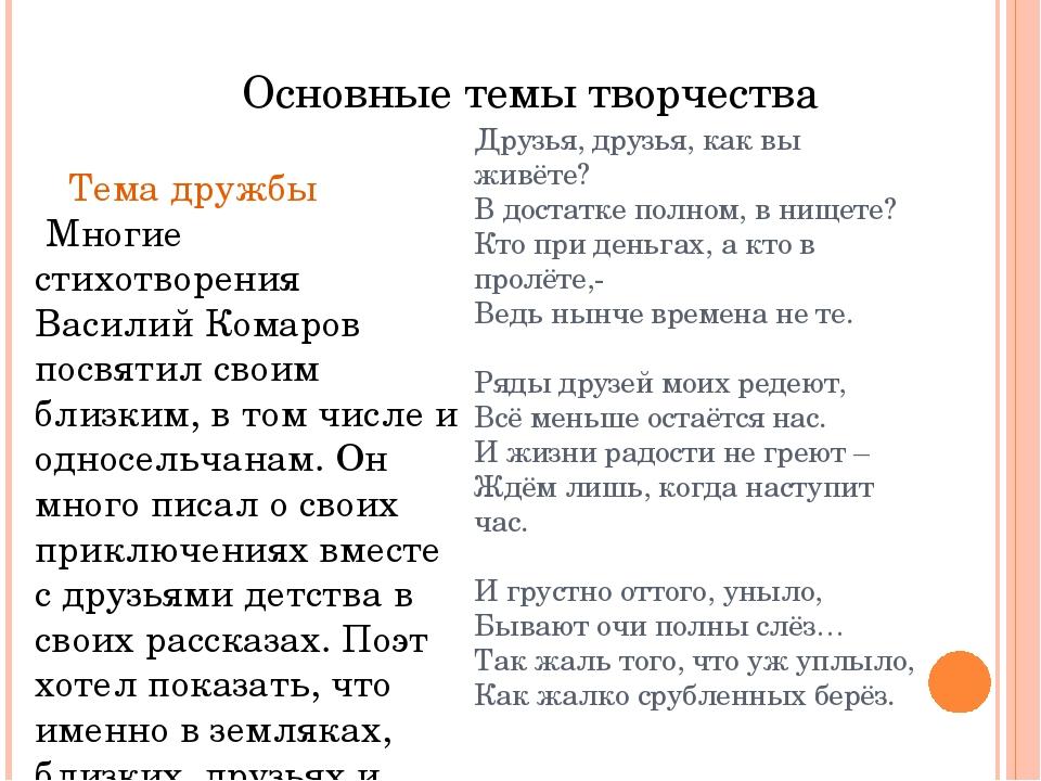 Основные темы творчества Тема дружбы Многие стихотворения Василий Комаров пос...