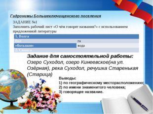 Гидронимы Большеключищенского поселения ЗАДАНИЕ №1 Заполнить рабочий лист «О
