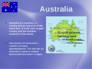 Australia Australia is a continent, a country and an island all at the same