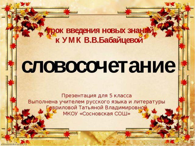 урок введения новых знаний к УМК В.В.Бабайцевой Презентация для 5 класса Вып...