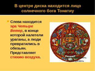 В центре диска находится лицо солнечного бога Тонатиу Слева находится эраЧет