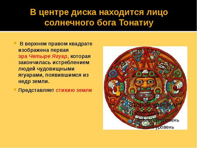 В центре диска находится лицо солнечного бога Тонатиу В верхнем правом квадра...