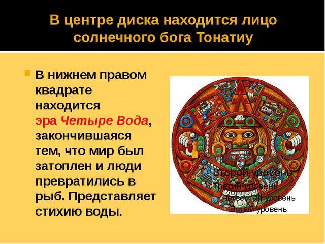 В центре диска находится лицо солнечного бога Тонатиу В нижнем правом квадрат...