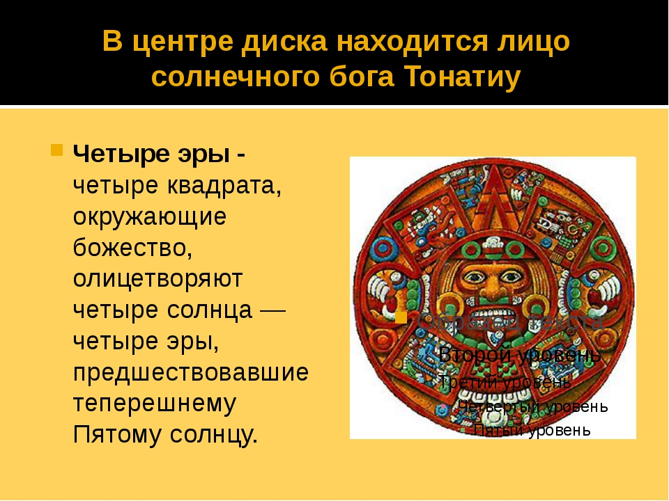 В центре диска находится лицо солнечного бога Тонатиу Четыре эры - четыре ква...