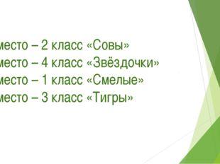 1 место – 2 класс «Совы» 2 место – 4 класс «Звёздочки» 3 место – 1 класс «Сме
