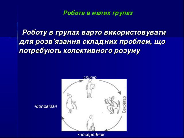 Робота в малих групах Роботу в групах варто використовувати для розв'язання с...