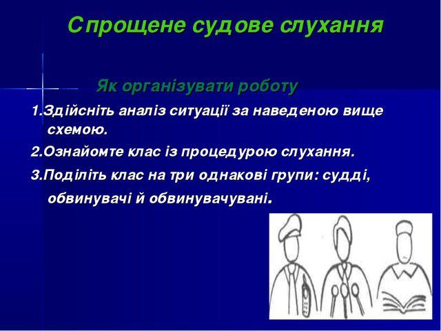 Спрощене судове слухання Як організувати роботу 1.Здійсніть аналіз ситуації з...
