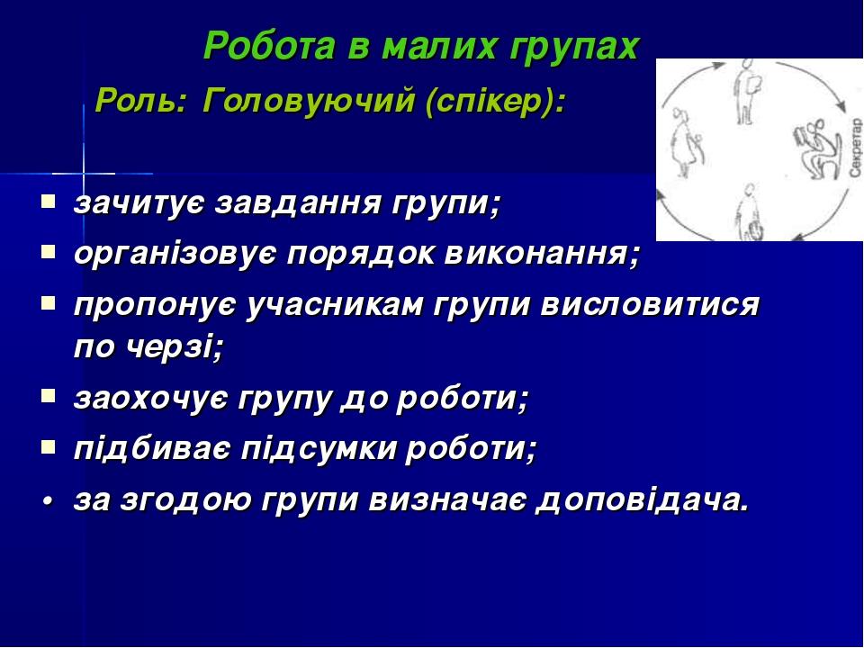 Робота в малих групах Роль: Головуючий (спікер): зачитує завдання групи; орга...