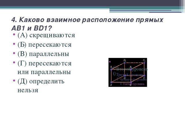 4. Каково взаимное расположение прямых AB1 и BD1? (А) скрещиваются (Б) пересе...
