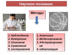 Научное познание. Методы : Наблюдение Измерение Описание Сравнение эксперимен