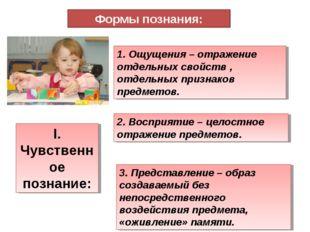Формы познания: I. Чувственное познание: 1. Ощущения – отражение отдельных св