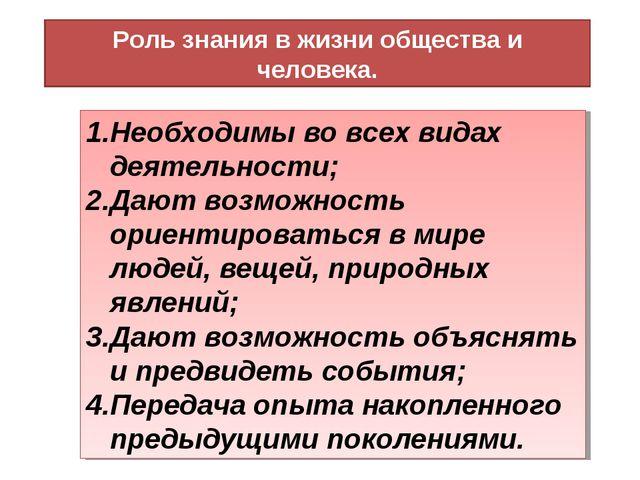 Роль знания в жизни общества и человека. Необходимы во всех видах деятельност...