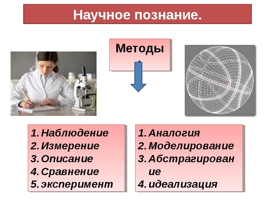 Научное познание. Методы : Наблюдение Измерение Описание Сравнение эксперимен...