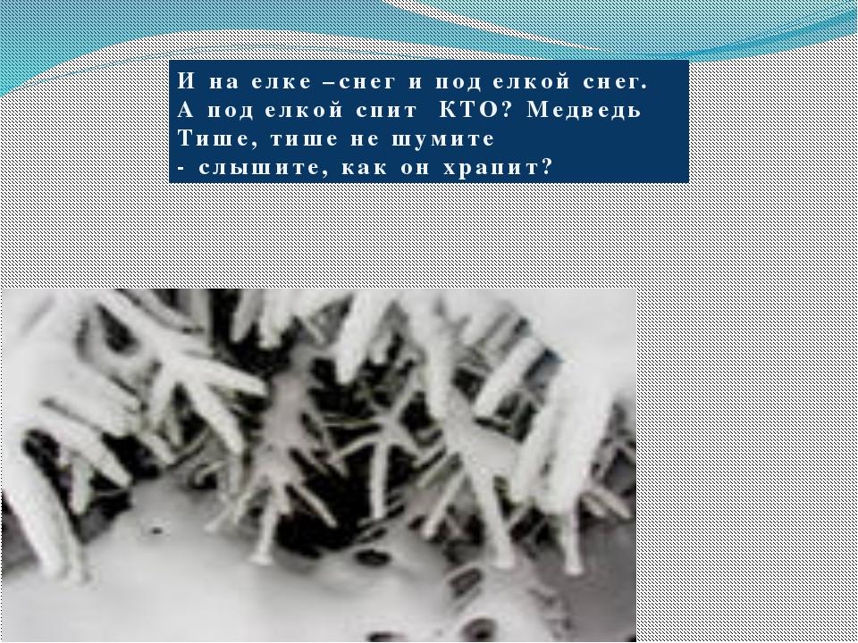 И на елке –снег и под елкой снег. А под елкой спит КТО? Медведь Тише, тише не...