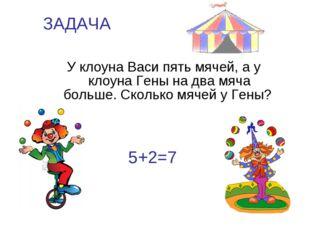 ЗАДАЧА У клоуна Васи пять мячей, а у клоуна Гены на два мяча больше. Сколько