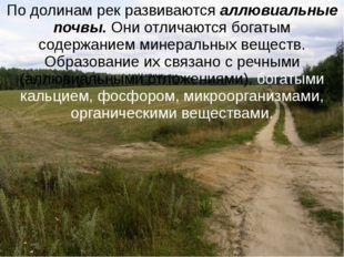 По долинам рек развиваются аллювиальные почвы. Они отличаются богатым содержа