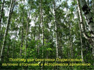 Поэтому все березняки Подмосковья - явление вторичное и исторически временное.