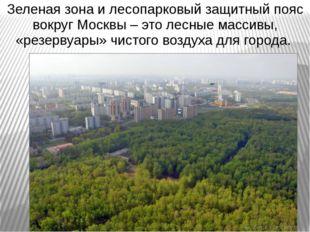 Зеленая зона и лесопарковый защитный пояс вокруг Москвы – это лесные массивы,