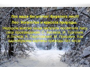 Лес наше богатство! Берегите лес!!! Лес- богатство и красота природы. Недаром