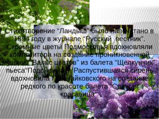 """Стихотворение """"Ландыш"""" было напечатано в 1894 году в журнале """"Русский вестник"""