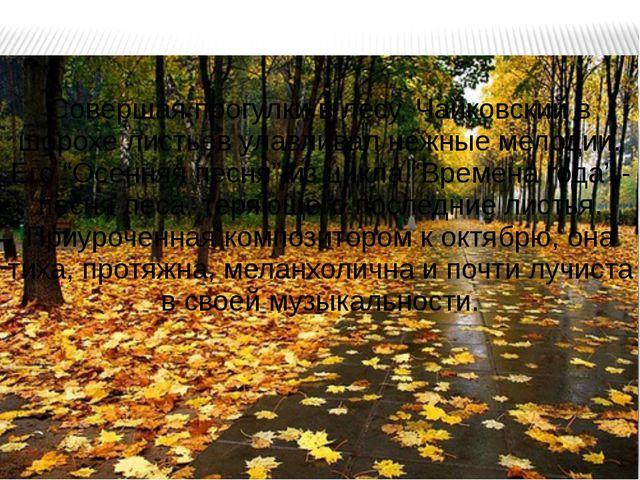 Совершая прогулки в лесу, Чайковский в шорохе листьев улавливал нежные мелоди...