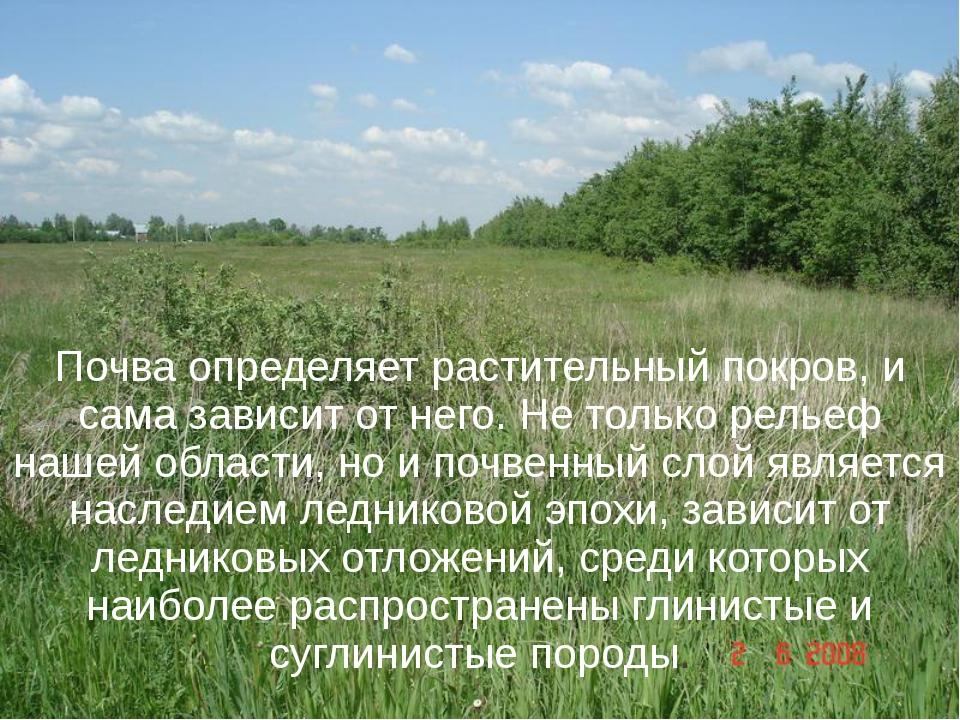 Почва определяет растительный покров, и сама зависит от него. Не только релье...