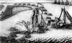 Взятие двух шведских судов в устье Невы 7 мая 1703г. Гравюра П. Пикара. Начало XVIII в.