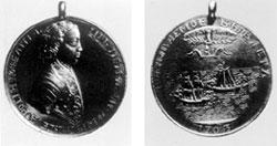 Медаль в честь взятия двух шведских судов в устье Невы 7 мая 1703 г. На обороте надпись «Небываемое бывает». Ф. Алексеев. 1703 г.