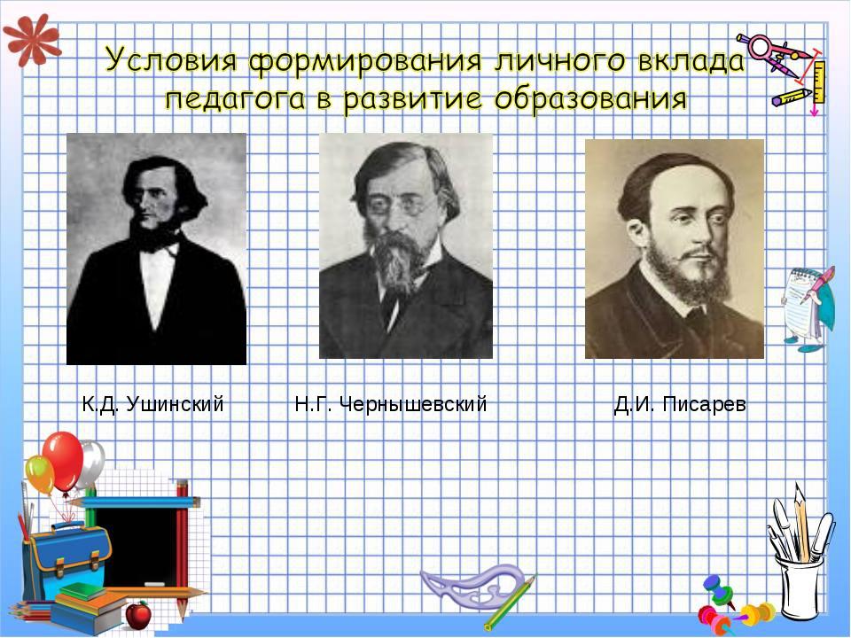 К.Д. Ушинский Н.Г. Чернышевский Д.И. Писарев