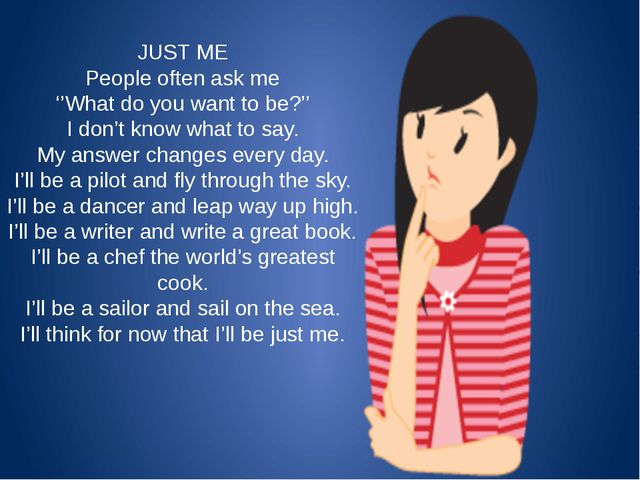 JUST ME People often ask me ''What do you want to be?'' I don't know what to...