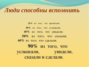 Люди способны вспомнить 20% из того, что прочитали; 30% из того, что услышали