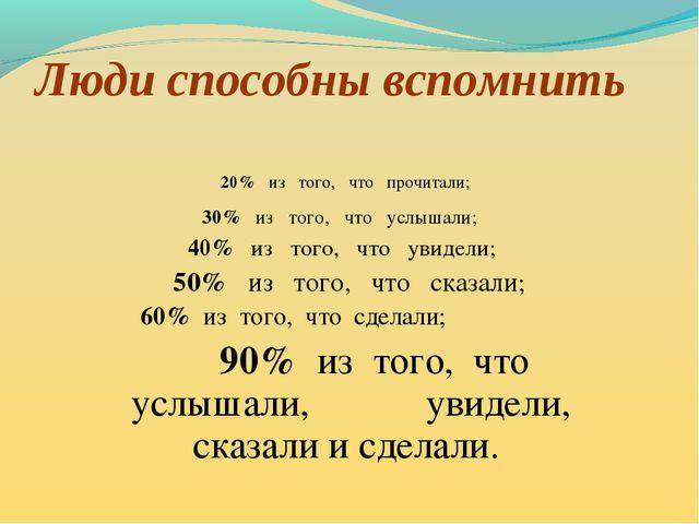 Люди способны вспомнить 20% из того, что прочитали; 30% из того, что услышали...