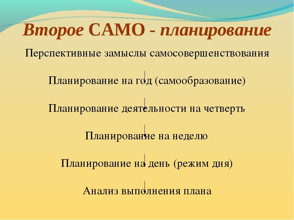 Второе САМО - планирование Перспективные замыслы самосовершенствования Планир...