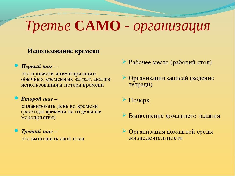 Третье САМО - организация Использование времени Первый шаг – это провести инв...