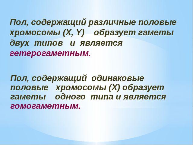 Пол, содержащий одинаковые половые хромосомы (Х) образует гаметы одного типа...