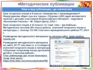 Методические публикации Тема и вид публикации, где напечатана Урок татарского