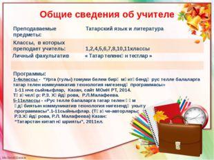 Общие сведения об учителе Преподаваемые предметы: Татарский язык и литература